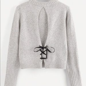 Lace up back sweater!!!